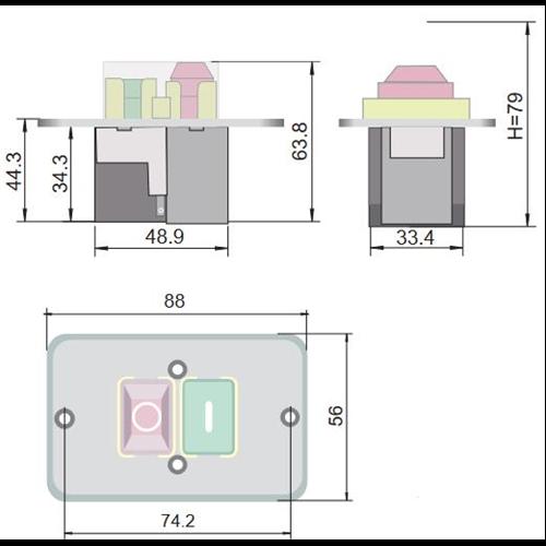 TRACON SSTM-317 Relés biztonsági kapcsoló 3f/400V/8A + Gombafej