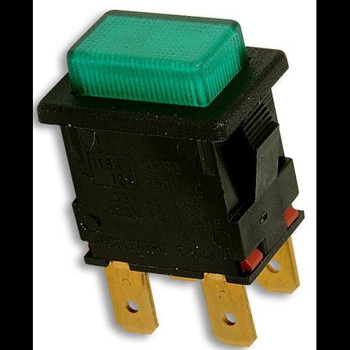 Nyomókapcsoló 13X19 két áramkörös, két állású ON/OFF világító 230V