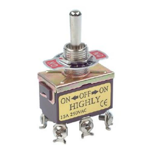 Fémkaros kapcsoló két áramkörös, három állású rugós ON/ON