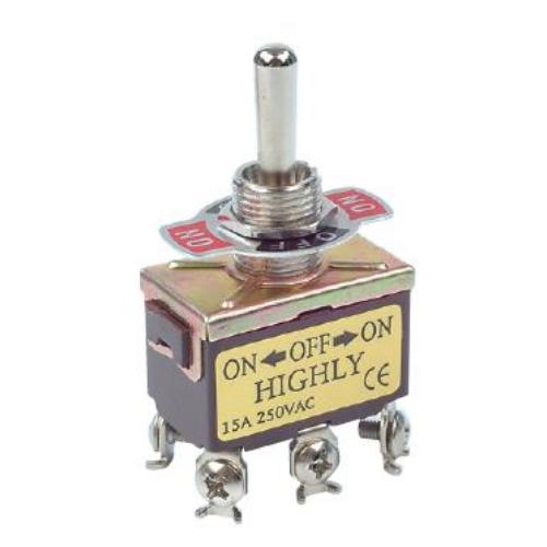 Fémkaros kapcsoló két áramkörös, háromállású ON/ON