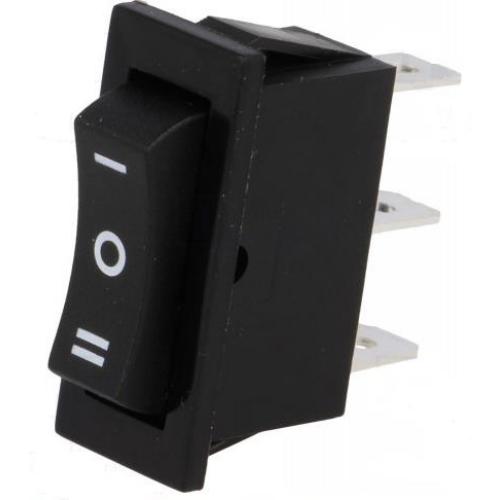 Billenő kapcsoló 30x15 egy áramkörös, három állású ON/OFF/ON rugós 10A/250VAC