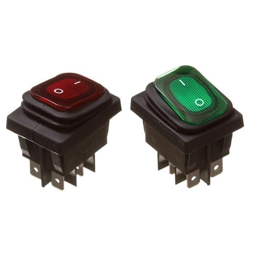 Harmonikás billenő kapcsoló 30x25 két áramkörös, két állású IP65 világító 230VAC